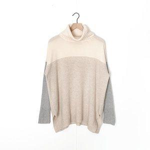 ANN TAYLOR 100% cashmere colorblock sweater large